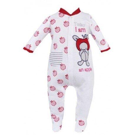 pijama bebe blanco rojo manzanas