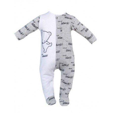 pijama bebe gris y blanco oso pillerias