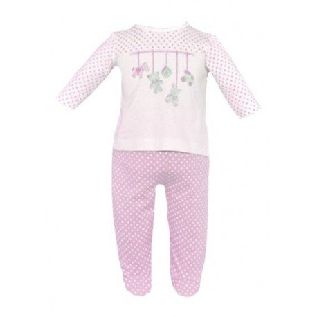 Pijama bebe rosa lunares pillerias