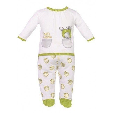 Pijama bebe blanco y verde manzanas