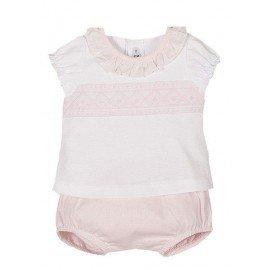 Conjunto bebé puntilla rosa