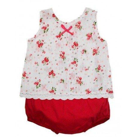 Conjunto bebé flores rojas