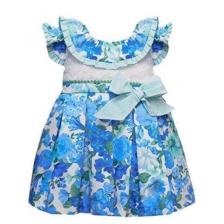 Vestido bebe flores azules