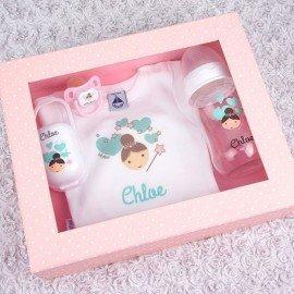 Cajita regalo bebé hada rosa