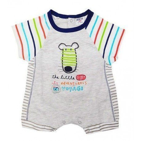 pijama de verano bebe rayas y dibujo