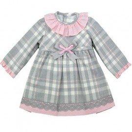 vestido bebé niña gris cuadros