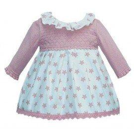 Vestido bebé tela y punto estrellas
