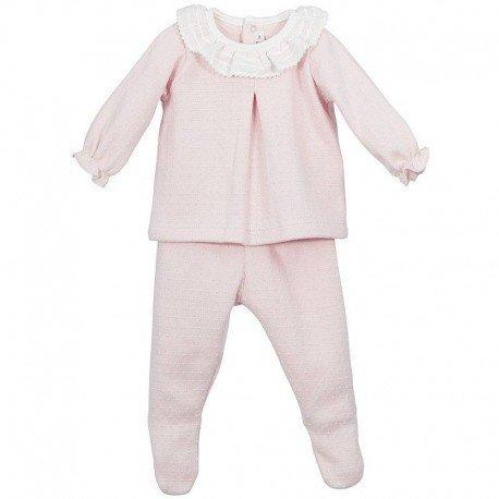 Conjunto bebé rosa polainas