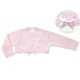 Chaqueta bebe punto rosa