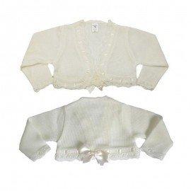 Chaqueta lana beige con lazo