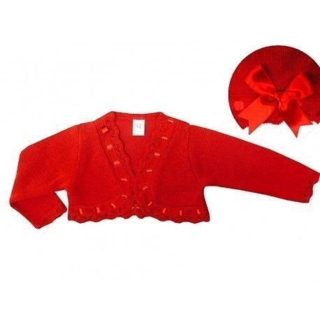 Chaqueta lana roja con lazo