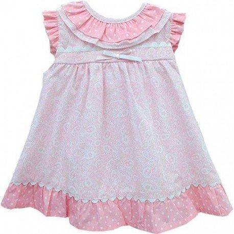vestido bebe rosa estampado