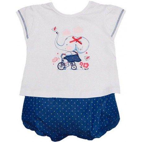 conjunto bebe niña de pololo y camiseta dibujo elefante