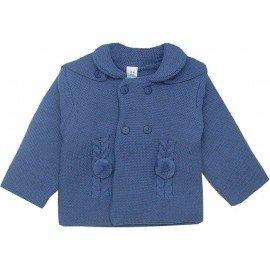 Abrigo bebe con capucha azul