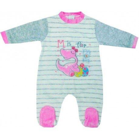 c3b312991 Pijama bebé niña de tacto suave con dibujo bordado de dinosaurio rosa
