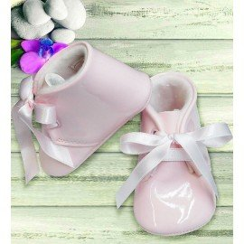 Zapatos bebé charol rosa lazo