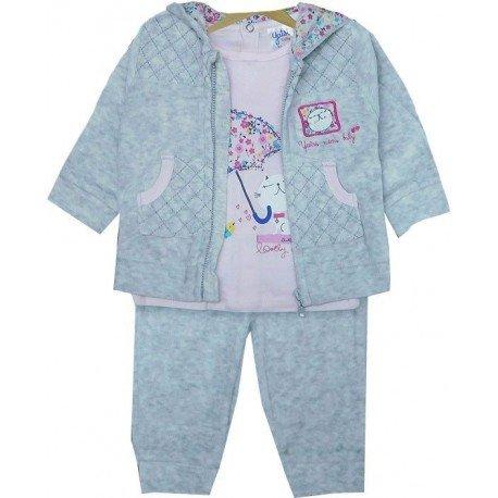 Chandal bebe gris rosa gatita