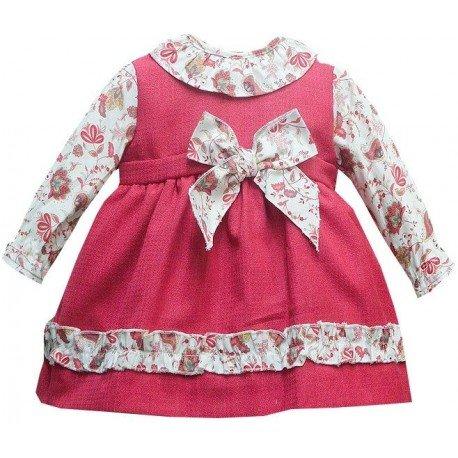 Vestido bebé burdeos flores Amelie