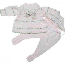 Conjunto bebé lana bicolor