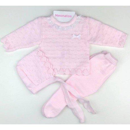 conjunto bebe rosa lana