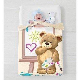Manta cuna bebe oso