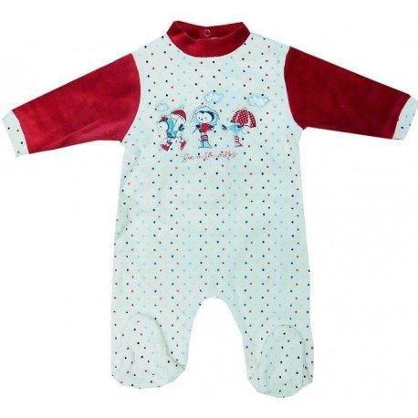 7152dac85 Pijama de tacto de terciopelo para bebé con dibujo bordado y lunares