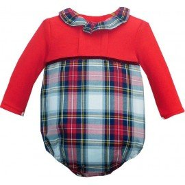 Ranita bebé tela y algodón cuadros rojos