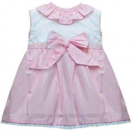 Vestido bebe rosa lunares