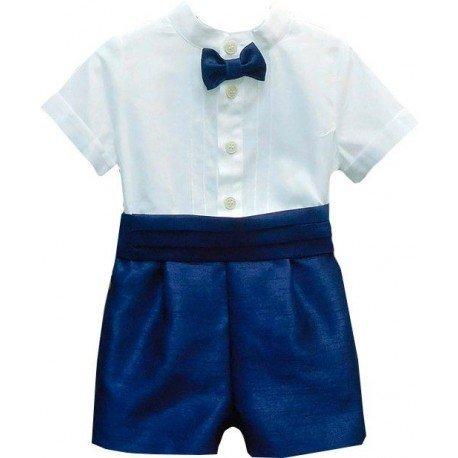 conjunto bautizo bebe azul blanco