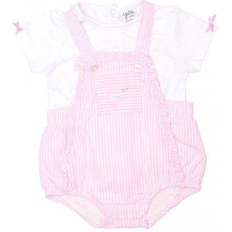 Peto de tela con rayas rosas para verano de bebé niña 5cf66381e920