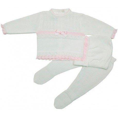 Conjunto lana 3 piezas blanco