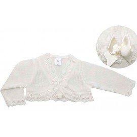 Chaqueta lana blanco con lazo