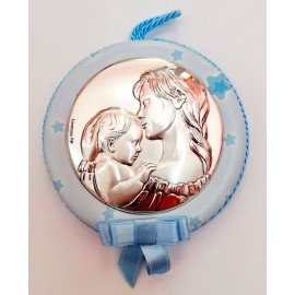 Medalla Plata Mama con bebe Azul