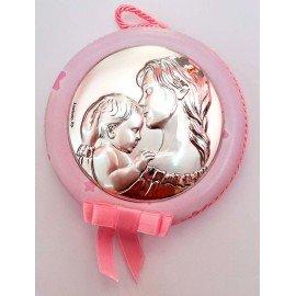 Medalla Plata Mama con bebe Rosa