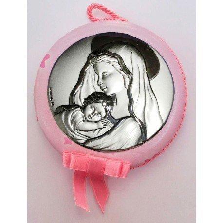Medalla cuna Virgen con niño rosa
