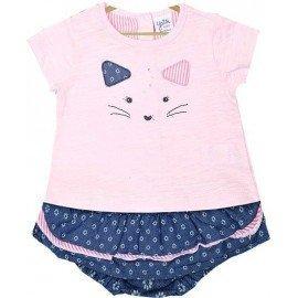 Conjunto bebé gato rosa