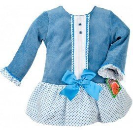 Vestido bebé azul lunares