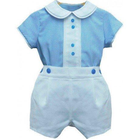 Conjunto bebé camisa azul
