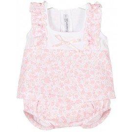 Conjunto flores algodón bebé niña