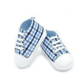 Zapatillas tela cuadros celeste