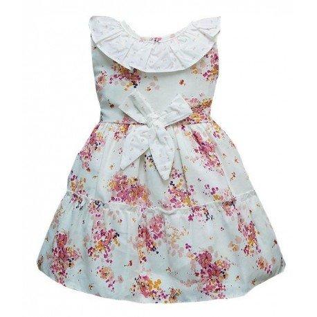 Vestido bebe niña flores beige