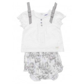Conjunto bebé niña flores beige