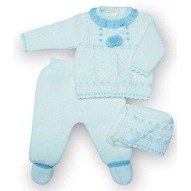 Conjunto lana bebé pompones blanco
