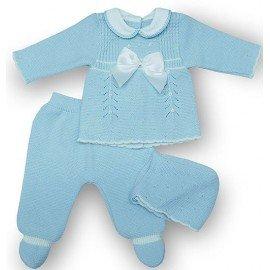 Conjunto bebé 3 piezas lana labrada.