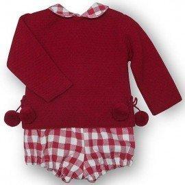 Conjunto bebé cuadros rojos
