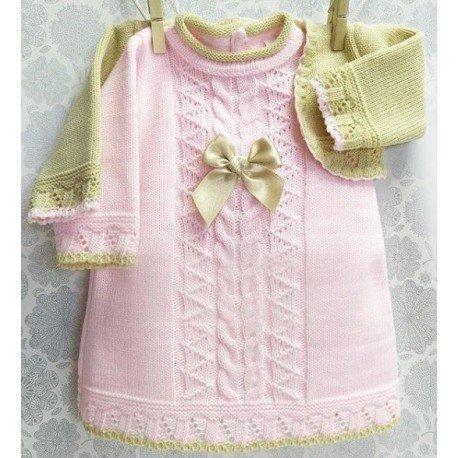 Vestido bebé con rebeca arena