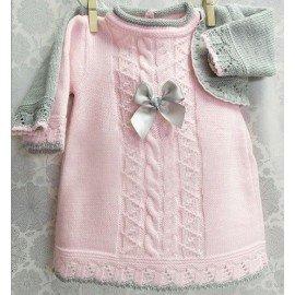 Vestido bebé con rebeca gris