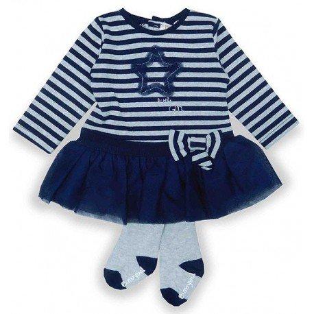 Vestido con leotardos bebé Rayas