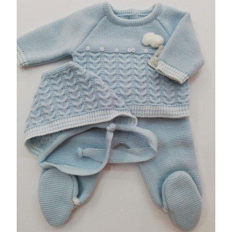 Conjunto bebé lana Pompones