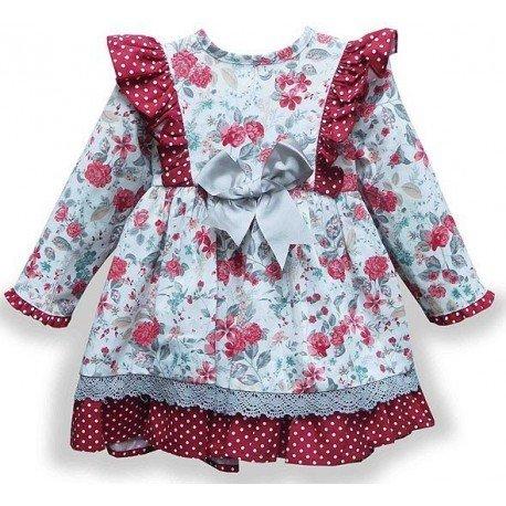 Vestido bebe flores Dalias
